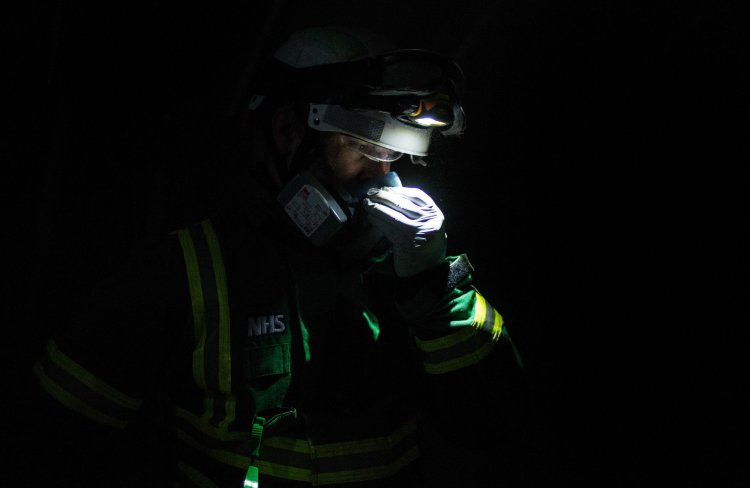 A member of the emergency services checks 'survivors'