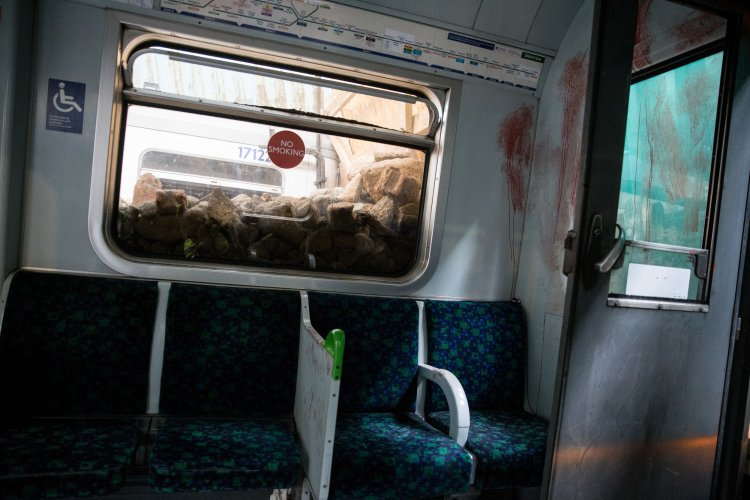 A general view inside one of the destroyed London Underground train carriages