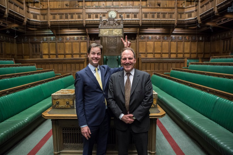 Westminster, UK. Deputy Prime Minister and Leader of the Liberal Democrats Nick Clegg posing with Simon Hughes in the House of Commons.  Photo by James Gourley/Liberal Democrats