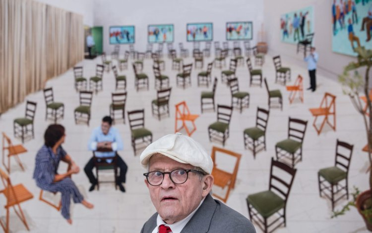 British artist David Hockney at a photocall for his new exhibition, 'Painting and Photography' at Annely Juda Fine Art in London today (14/05)