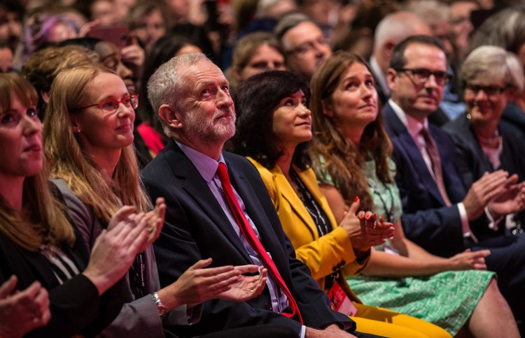 Jeremy Corbyn reacts as he is announced the winner of the Labour Leadership contest