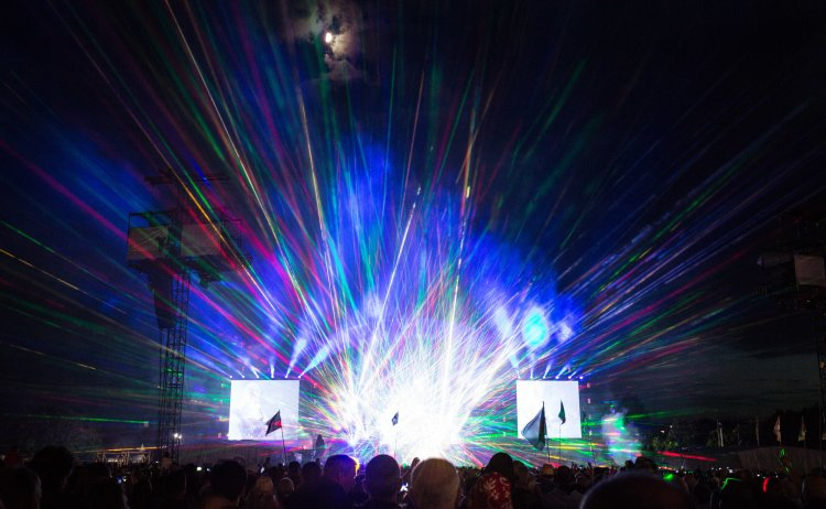 Lasers being used during Queen & Adam Lambert's set at the Isle of Wight Festival