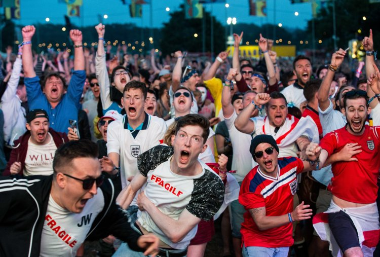 England fans celebrate Eric Dier's opening goal against Russia
