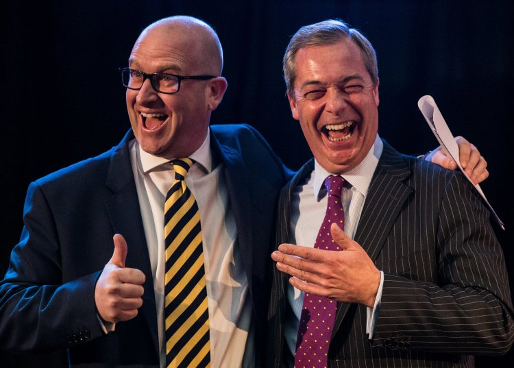 Paul Nuttall and Nigel Farage after Nuttall was announced as the next UKIP leader