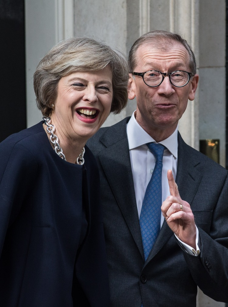 Theresa May and Philip May arriving at 10 Downing Street