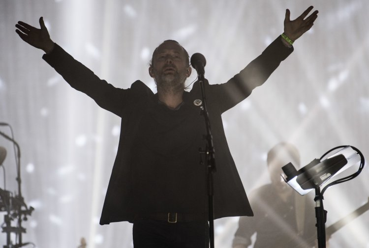 Thom Yorke of Radiohead performing on the Pyramid Stage