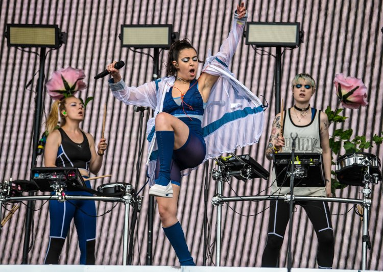 Charli XCX performing on the Other Stage