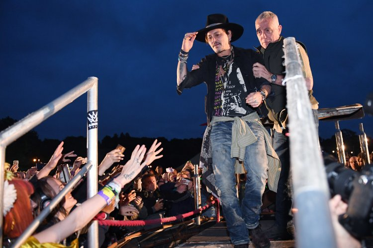 Johnny Depp introducing his film 'The Libertine' at the �Cineramageddon� drive-in