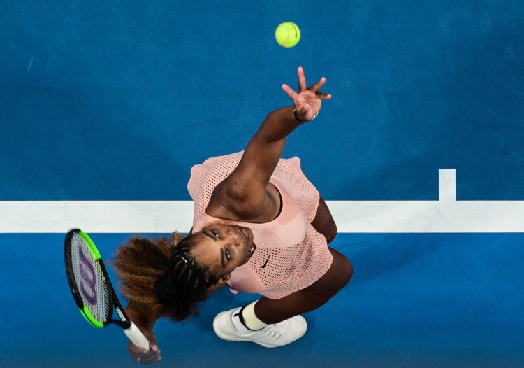 Serena Williams of Team United States serving during her Ladies' Singles match