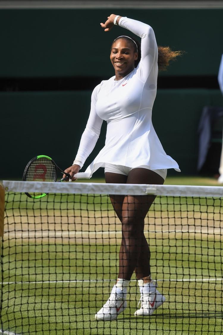 Serena Williams celebrates victory in her Ladies' Singles semi final match