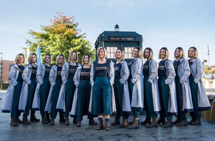 Jodie Whittaker with 12 look-alike models
